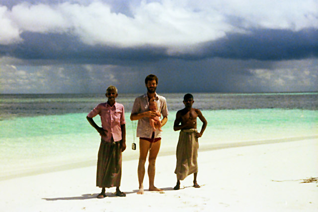 On our beach with Mosabe, Kokko, & Abdulla
